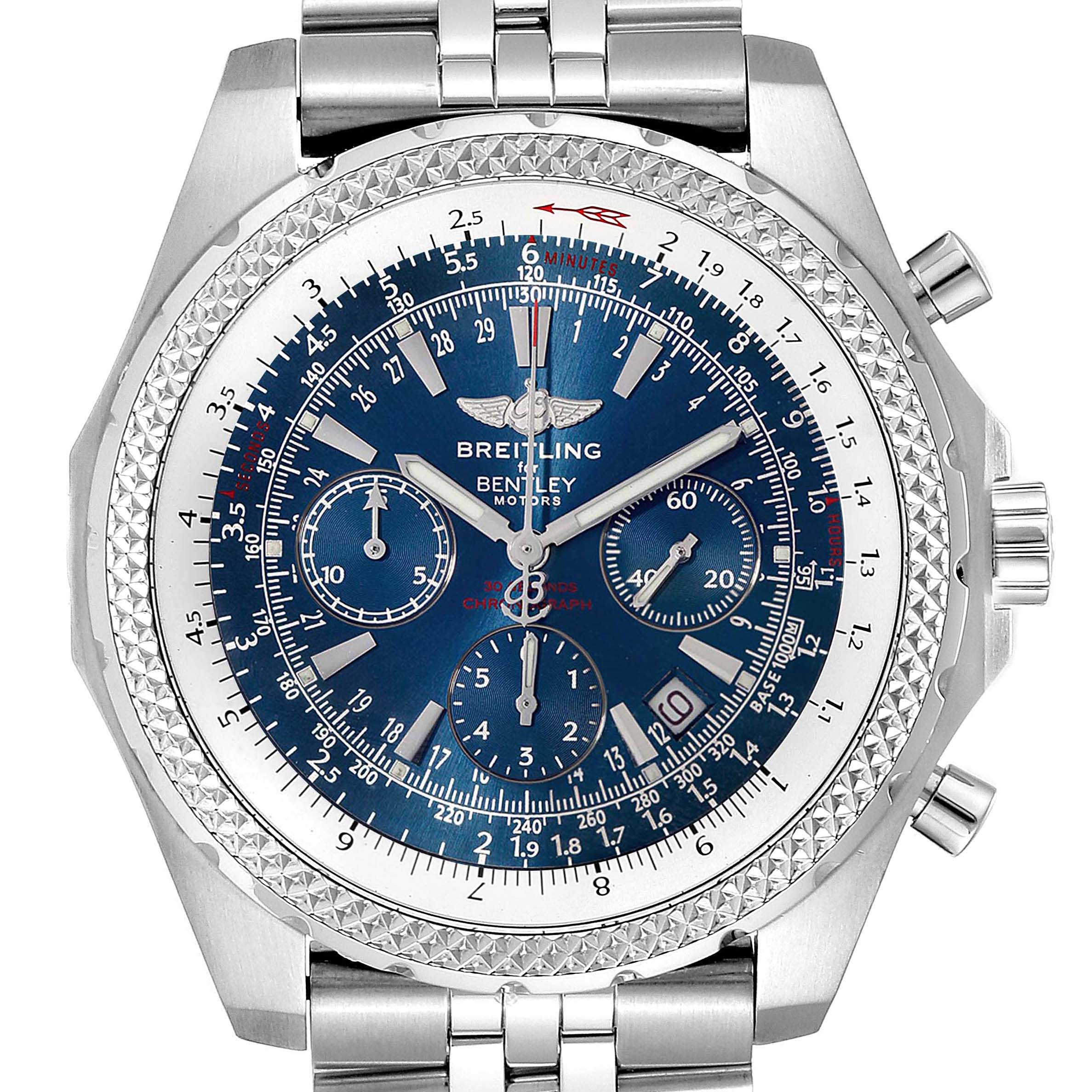 Photo of Breitling Bentley Motors T Blue Dial Chronograph Watch A25363 Box