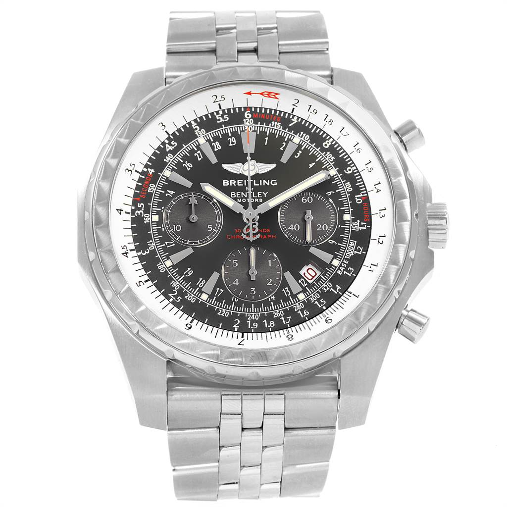 22021 Breitling Bentley Motors T Grey Dial Chronograph Watch A25363 Box SwissWatchExpo