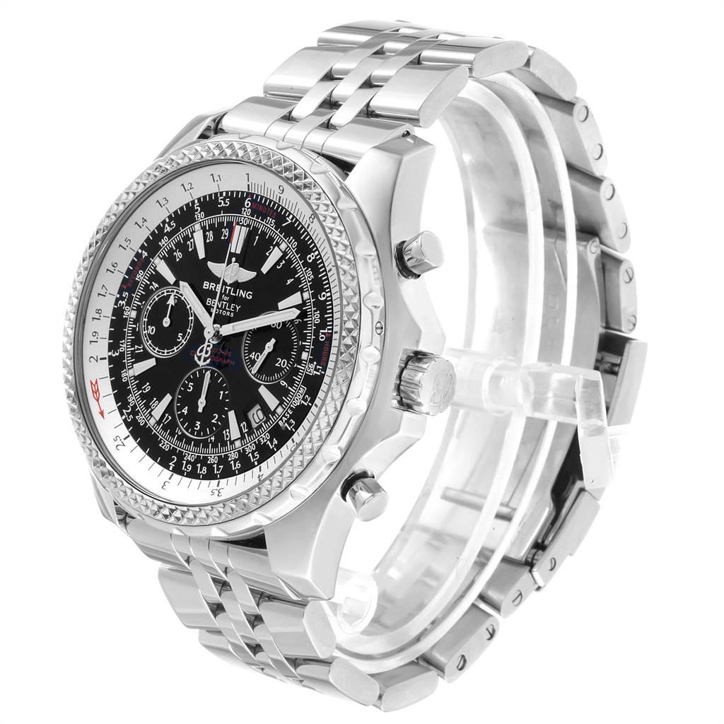 22583 Breitling Bentley Motors Black Dial Chronograph Steel Mens Watch A25362 SwissWatchExpo
