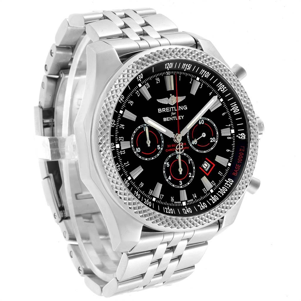 22716 Breitling Bentley Barnato 49mm Black Red Dial Steel Mens Watch A25368 SwissWatchExpo