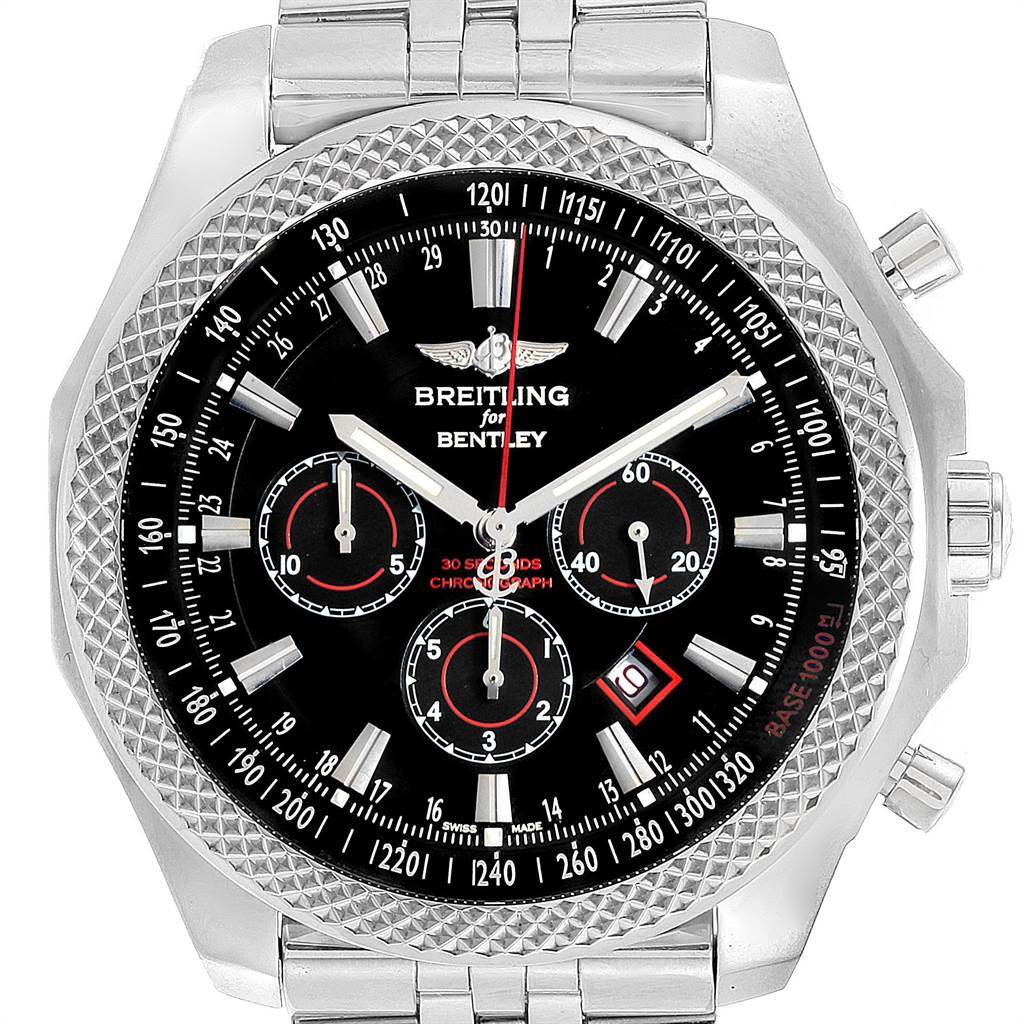 Breitling Bentley Barnato 49mm Black Red Dial Steel Mens Watch A25368 SwissWatchExpo