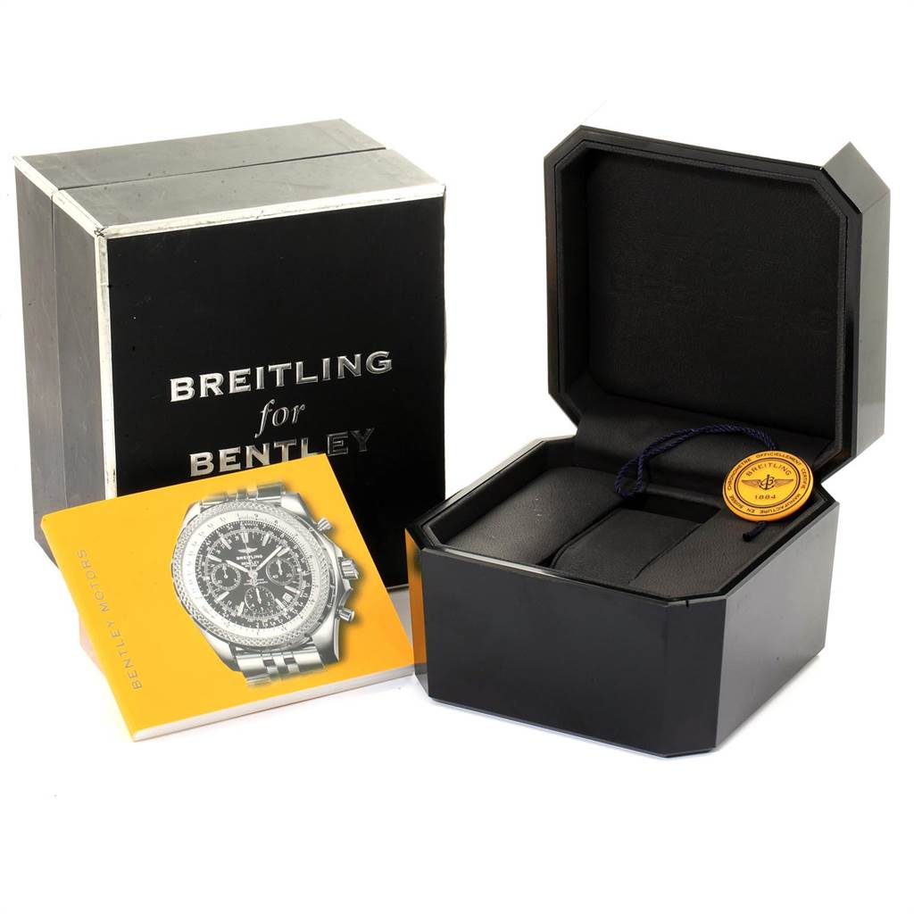 23099 Breitling Bentley Motors Blue Dial Chronograph Watch A25362 Box SwissWatchExpo