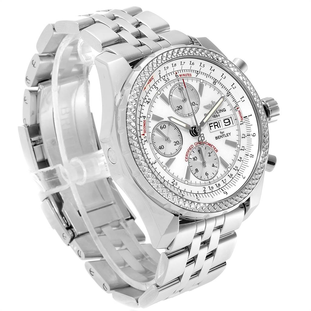 23263 Breitling Bentley Motors GT Silver Dial Chronograph Mens Watch A13362 SwissWatchExpo
