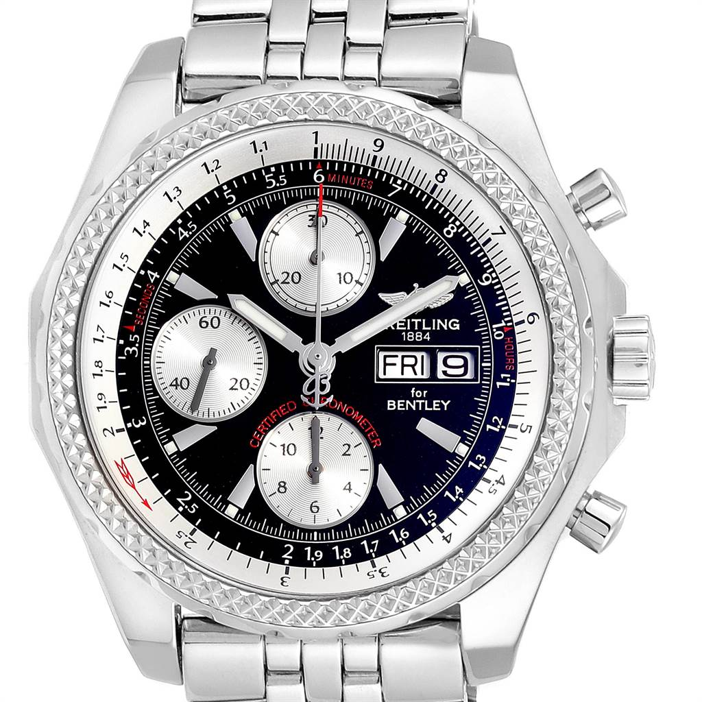 22626 Breitling Bentley Motors GT Black Dial Steel Mens Watch A13362 SwissWatchExpo