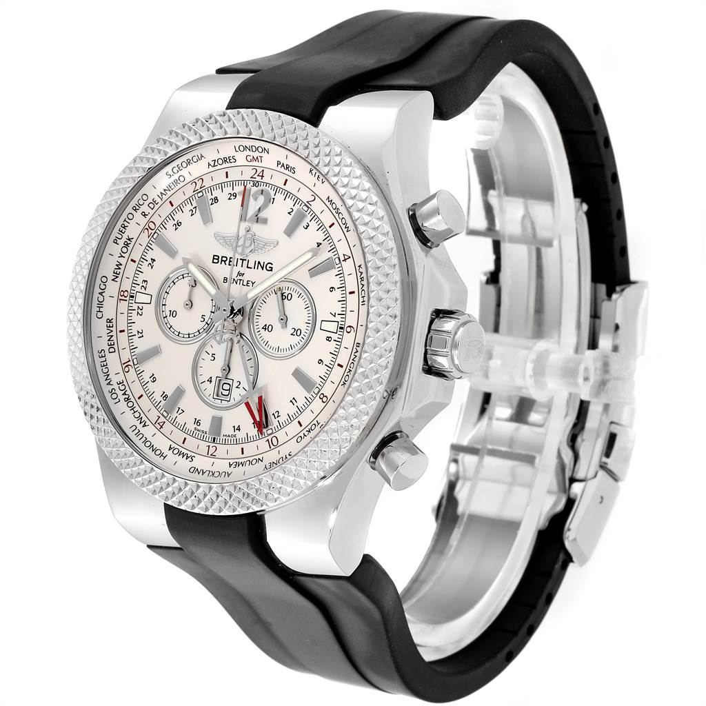 Breitling Bentley GMT Silver Dial Steel Mens Watch A47362 Box Papers SwissWatchExpo