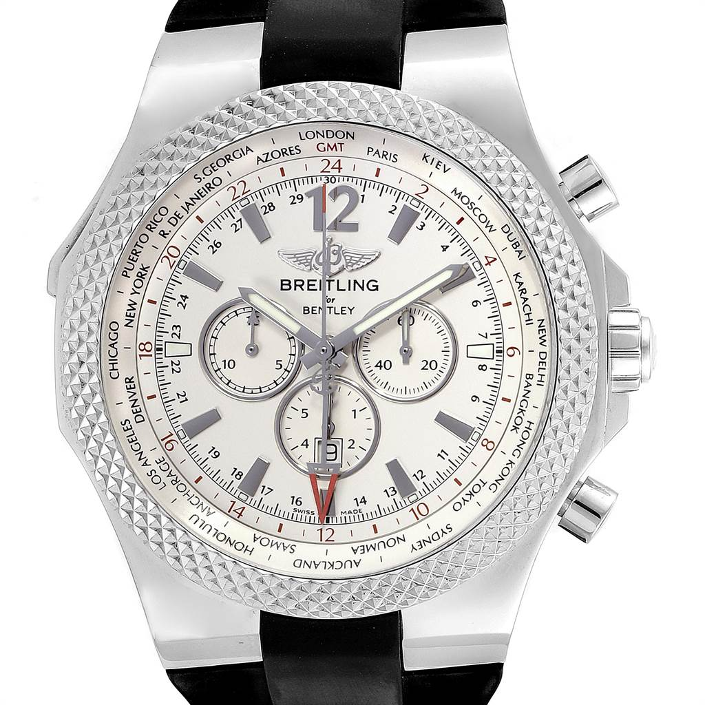 22603 Breitling Bentley GMT Silver Dial Steel Mens Watch A47362 Box Papers SwissWatchExpo