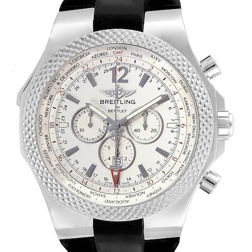 Photo of Breitling Bentley GMT Silver Dial Steel Mens Watch A47362 Box Papers