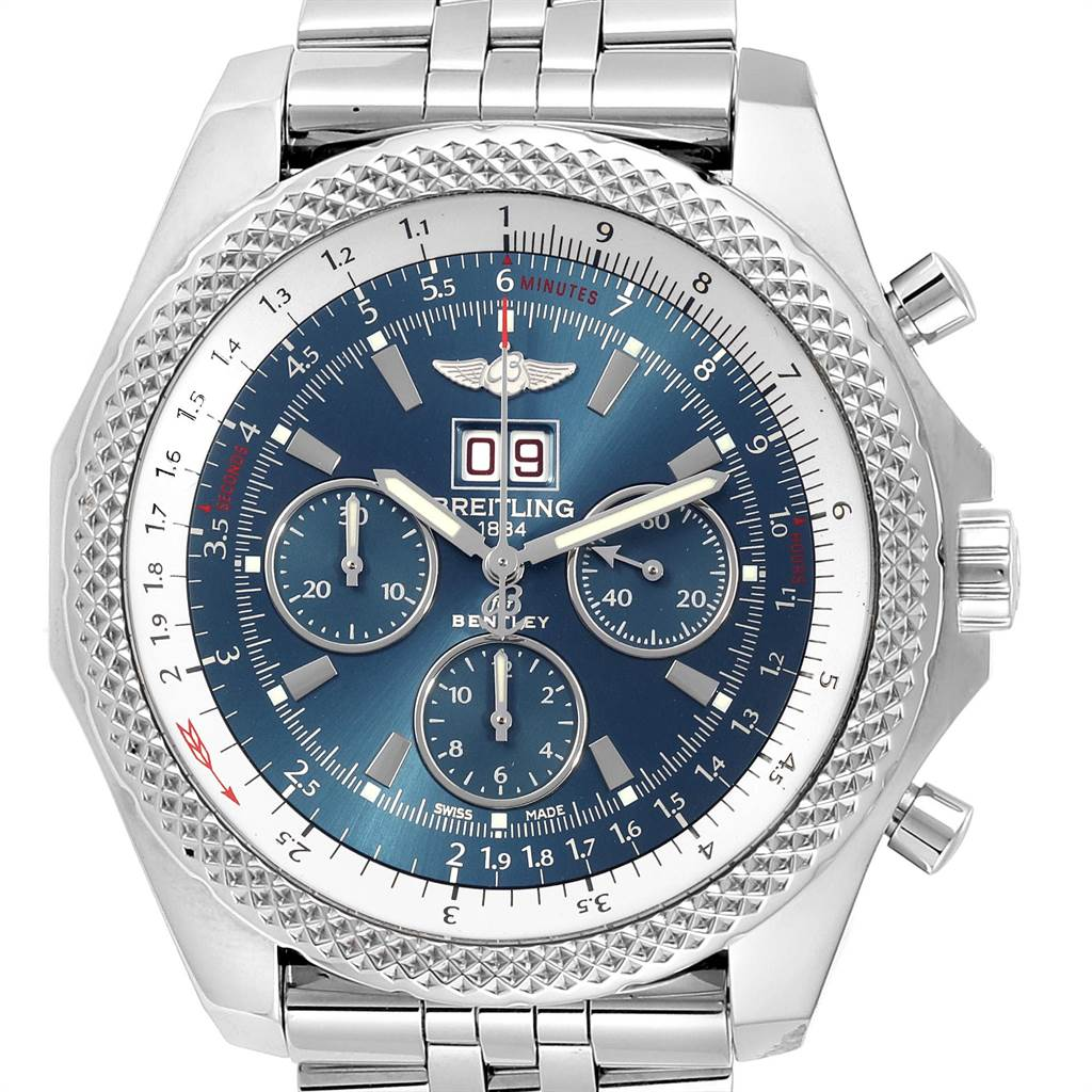 23939 Breitling Bentley 6.75 Speed Chronograph Blue Dial Mens Watch A44364 SwissWatchExpo