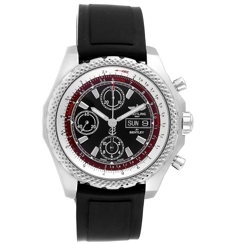 Breitling Bentley Motors GT II Black Red Dial Mens Watch A13365 SwissWatchExpo