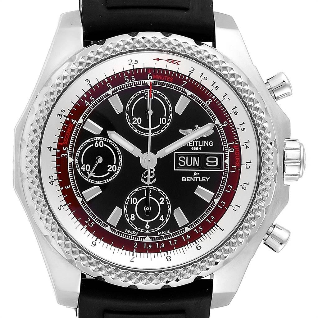 23577 Breitling Bentley Motors GT II Black Red Dial Mens Watch A13365 SwissWatchExpo