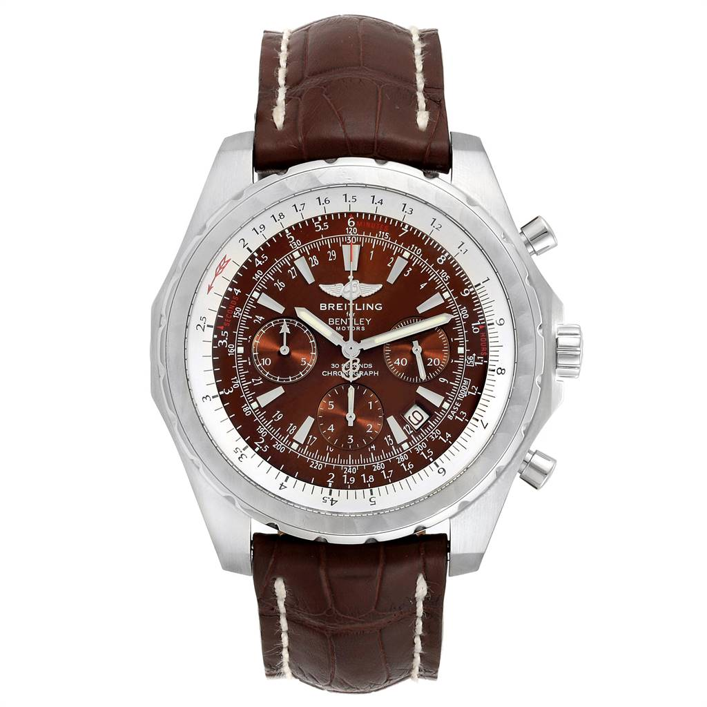 23943 Breitling Bentley Motors T Chrono Bronze Dial Steel Mens Watch A25363 SwissWatchExpo