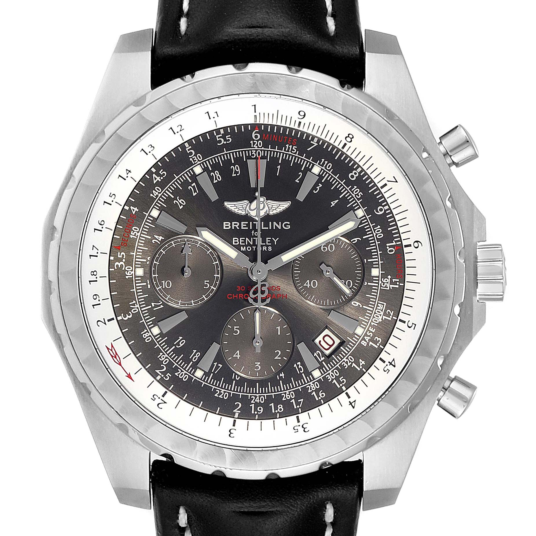 Breitling Bentley Grey Dial Chronograph Steel Mens Watch A25362 SwissWatchExpo