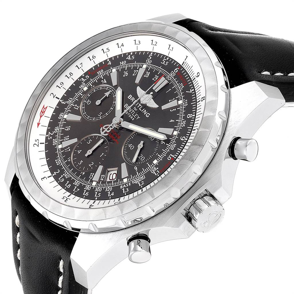 24800 Breitling Bentley Grey Dial Chronograph Steel Mens Watch A25362 SwissWatchExpo