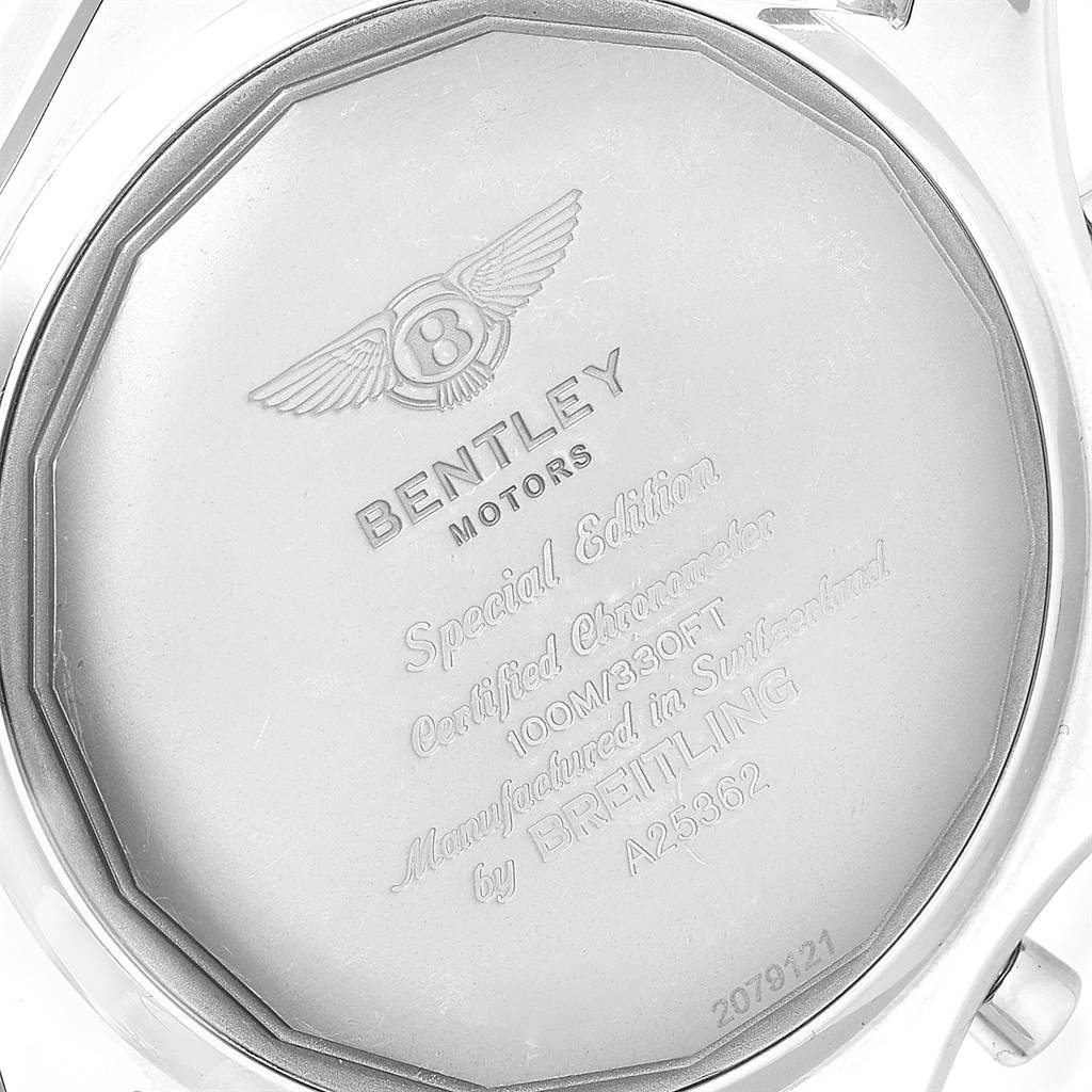 24832 Breitling Bentley Motors Silver Dial Chronograph Watch A25362 Box Papers SwissWatchExpo