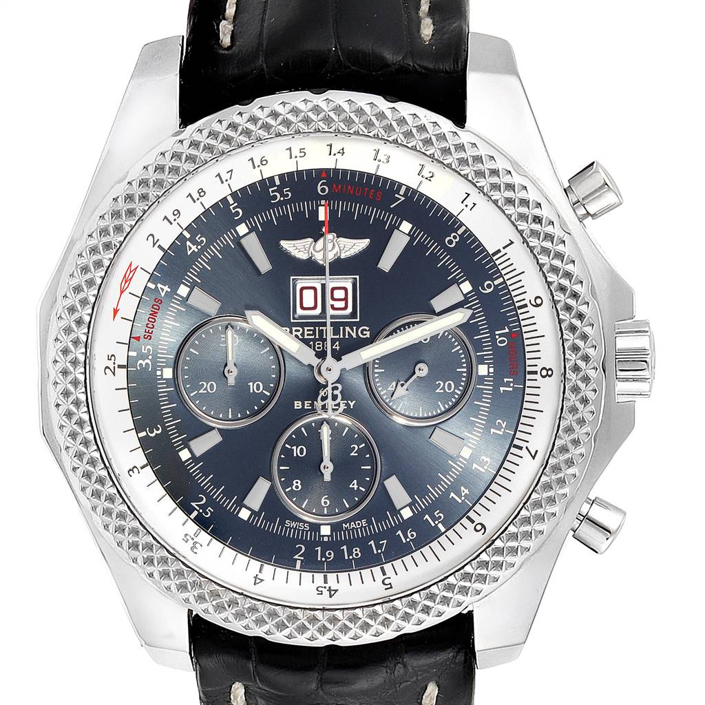 25027 Breitling Bentley 6.75 Speed Chronograph Blue Dial Mens Watch A44364 SwissWatchExpo
