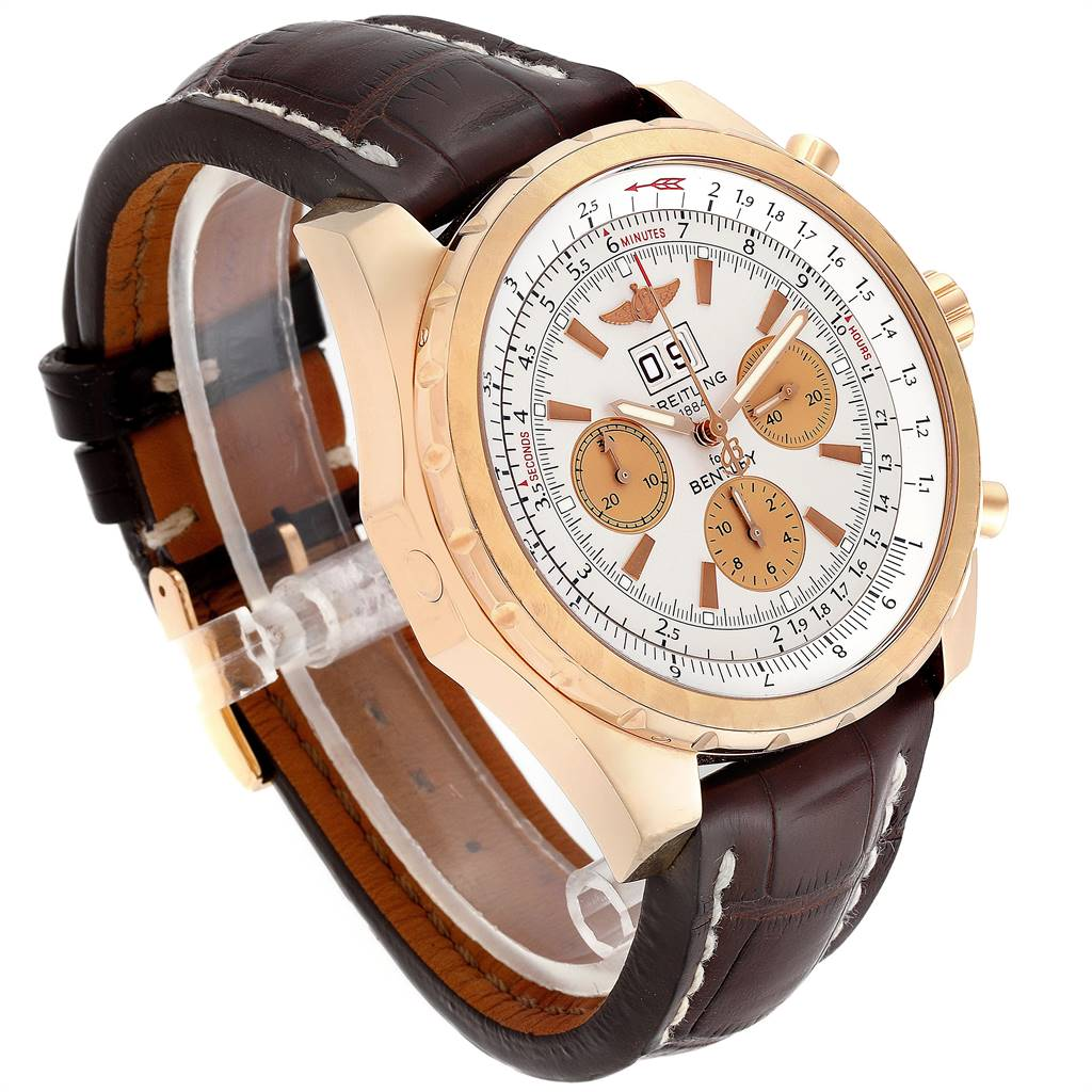 25058 Breitling Bentley 6.75 Rose Gold Black Dial Chronograph LE Watch H44363 SwissWatchExpo