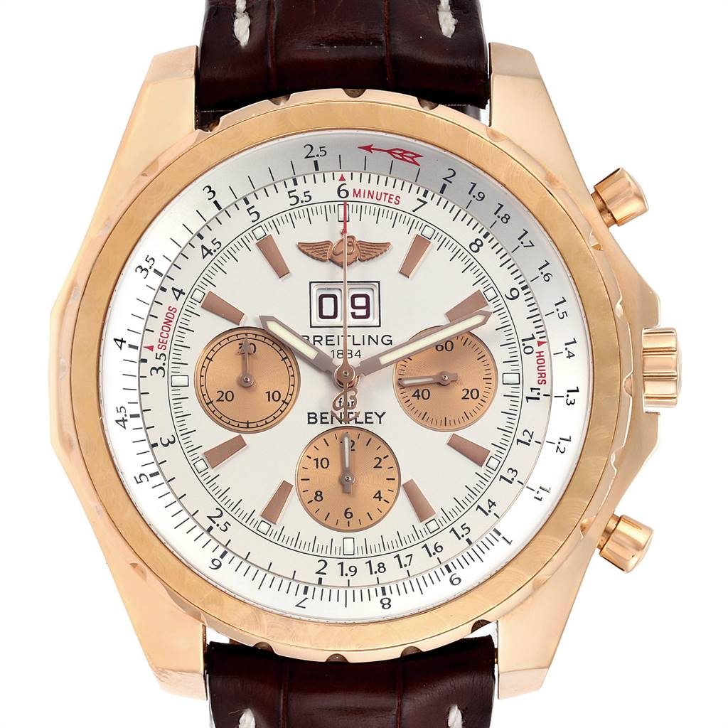 Breitling Bentley 6.75 Rose Gold Black Dial Chronograph LE Watch H44363