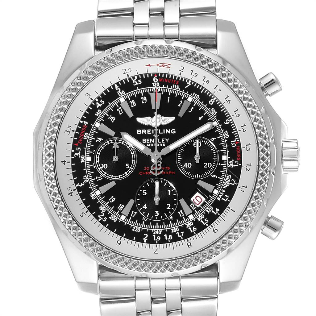 Breitling Bentley Motors Black Dial Chrono Mens Watch A25362 Box Papers SwissWatchExpo