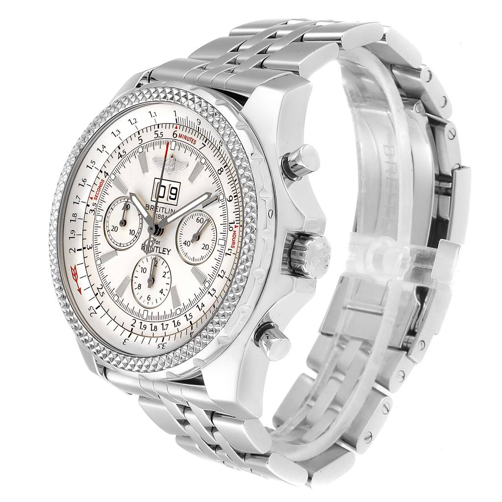 Breitling Bentley Motors Silver Dial Chronograph Watch A44362 Box Papers  SwissWatchExpo