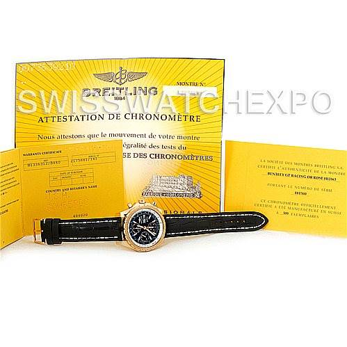 5121P Breitling Bentley GT Continental Racing Limited Ed 18K Rose Gold Watch H13353 SwissWatchExpo