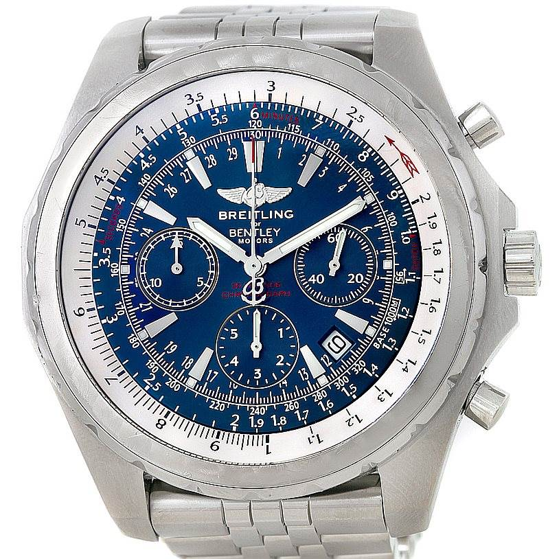 8302 Breitling Bentley Motors T Blue Dial Mens Steel Watch A25363 SwissWatchExpo