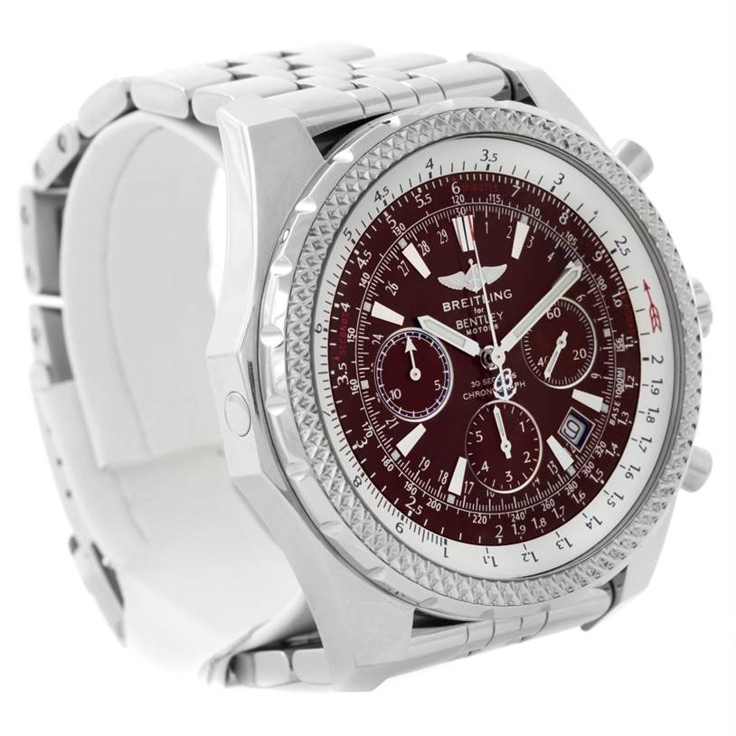 8688 Breitling Bentley Motors Burgundy Dial Chronograph Mens Watch A25362     SwissWatchExpo