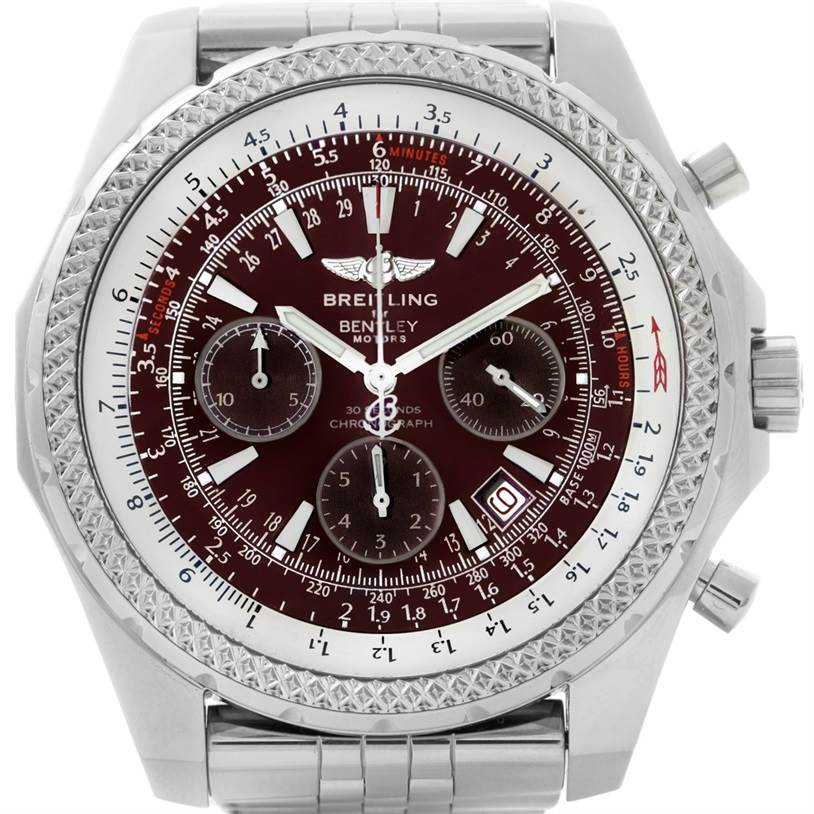 Breitling bentley motors burgundy dial chronograph mens for Breitling watches bentley motors special edition a25362