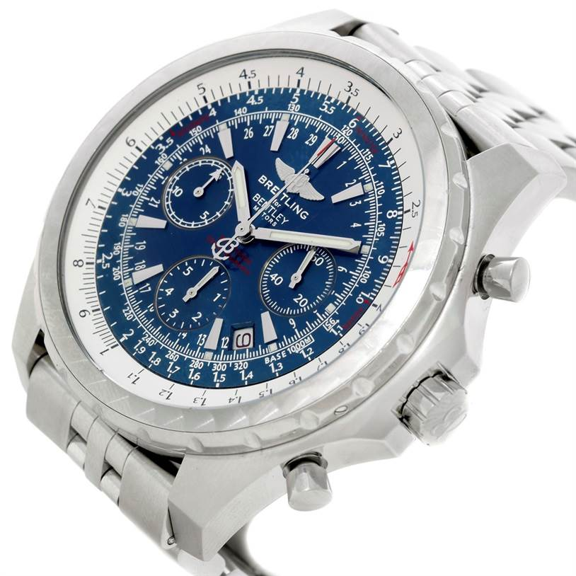 8770 Breitling Bentley Motors T Blue Dial Mens Steel Watch A25363 SwissWatchExpo