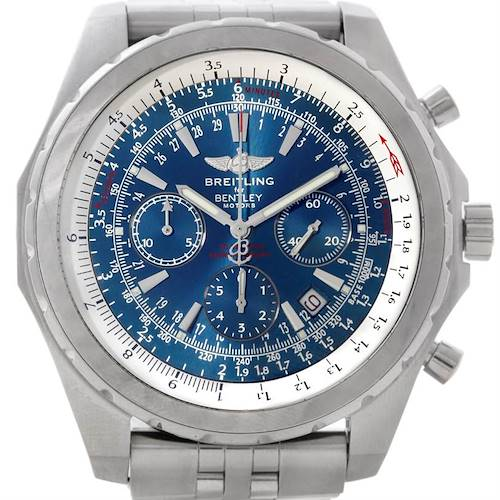 Photo of Breitling Bentley Motors T Blue Dial Mens Steel Watch A25363