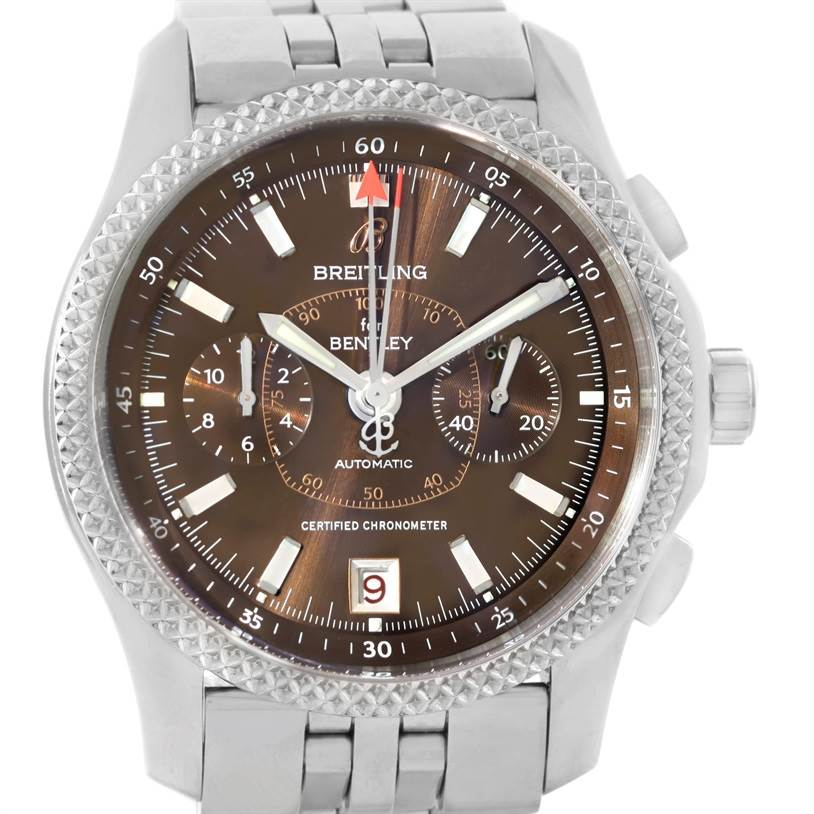 9220 Breitling Bentley Mark VI Brown Dial Mens Steel Platinum Watch P26362 SwissWatchExpo