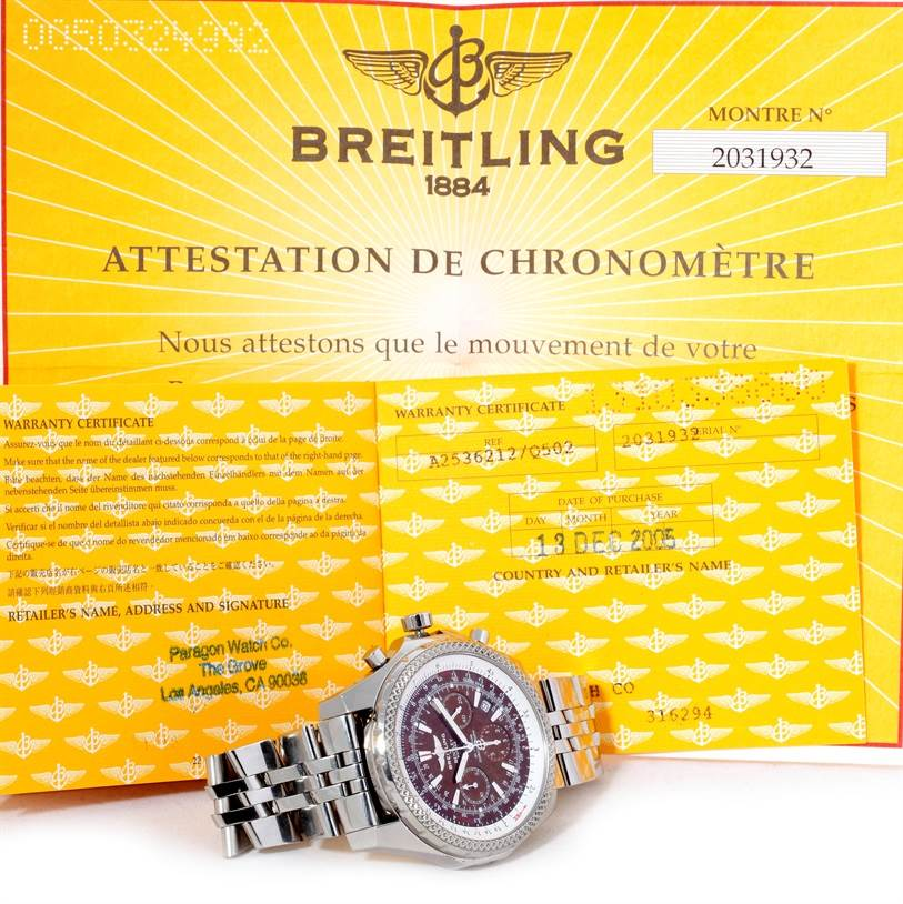 9280 Breitling Bentley Motors Chronograph Bronze Dial Mens Watch A25362 SwissWatchExpo