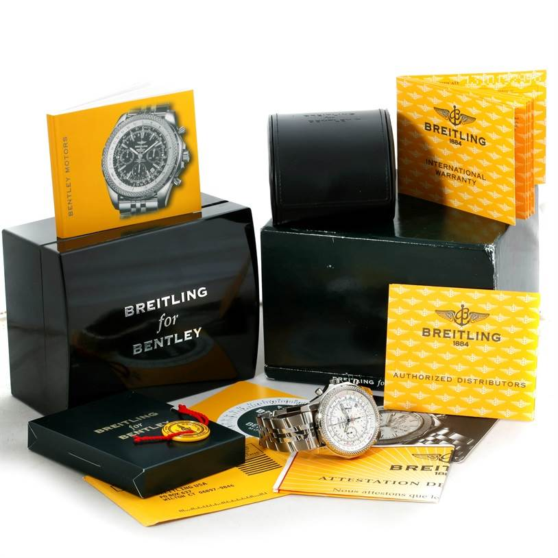 9117 Breitling Bentley Motors Chronograph White Dial Mens Watch A25362 SwissWatchExpo