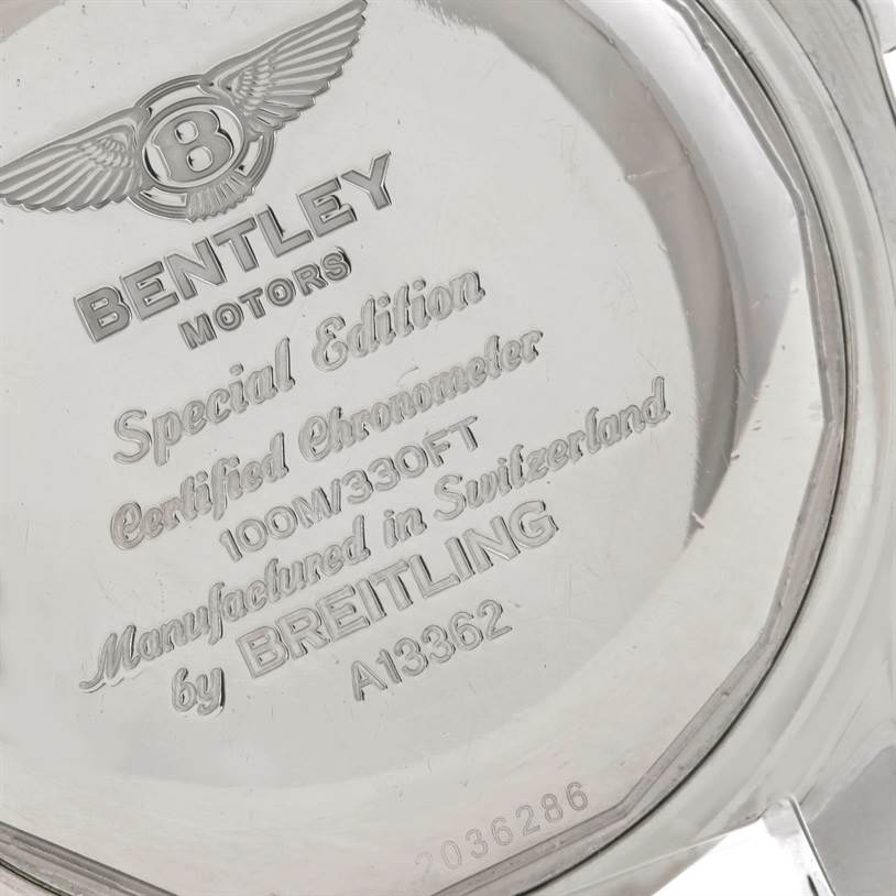 9192 Breitling Bentley Motors GT Black Dial Steel Mens Watch A13362 SwissWatchExpo