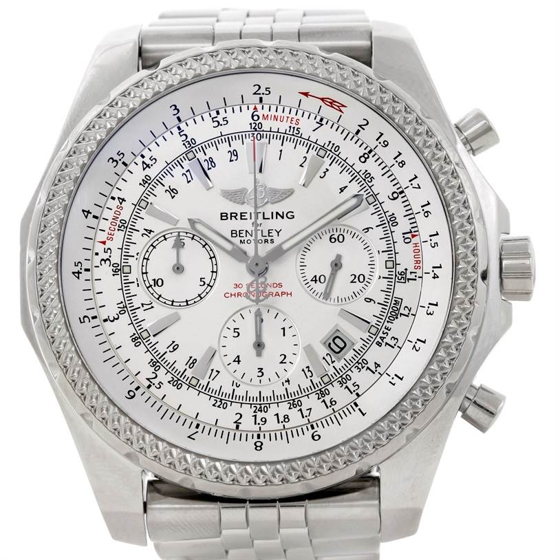 9333 Breitling Bentley Motors Chronograph White Dial Mens Watch A25362 SwissWatchExpo