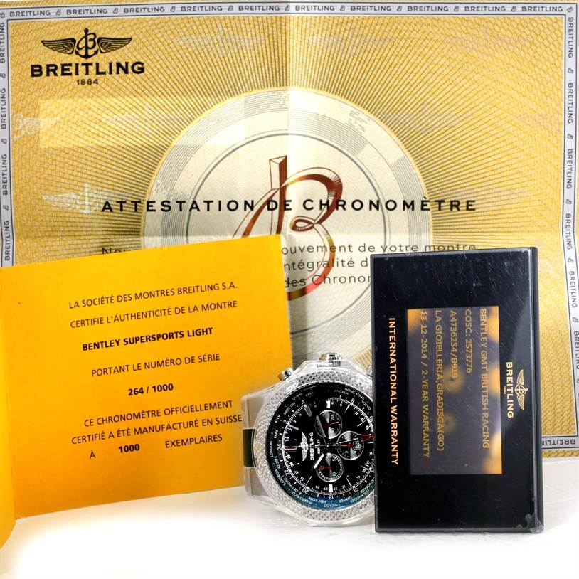 9764 Breitling Bentley Chronograph GMT Limited Edition Watch a4736254/b919 SwissWatchExpo
