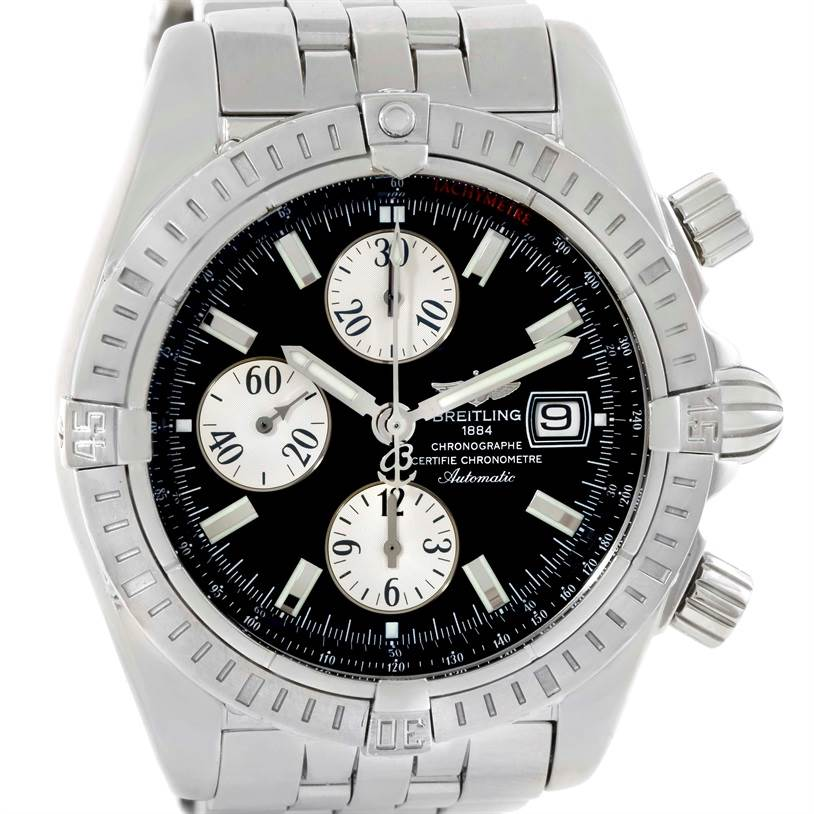 Breitling Chronomat Evolution Steel Black Dial Mens Watch A13356 SwissWatchExpo