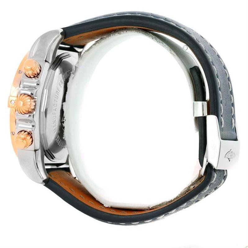 Breitling Chronomat Evolution Steel Rose Gold Blue Dial Watch CB0110 SwissWatchExpo