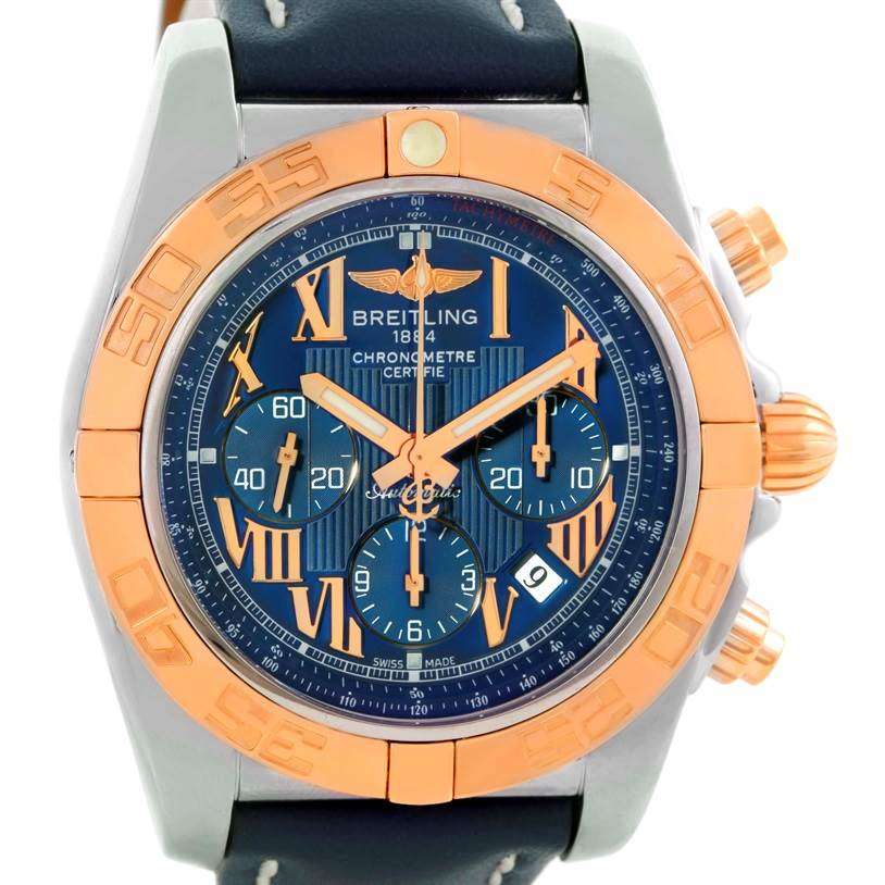 10133 Breitling Chronomat Evolution Steel Rose Gold Blue Dial Watch CB0110 SwissWatchExpo
