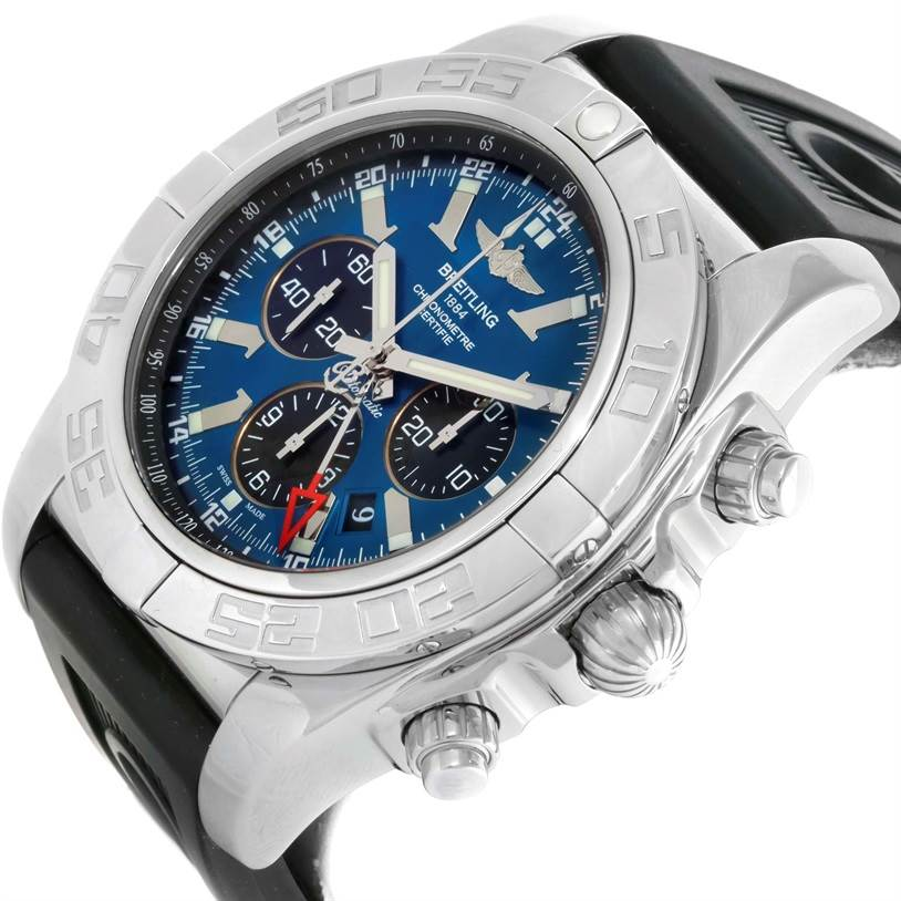 Breitling Chronomat GMT Blue Dial Rubber Strap Steel Mens Watch AB0410 SwissWatchExpo