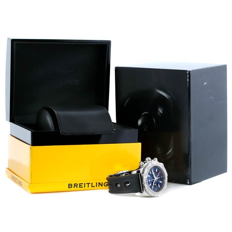 10207 Breitling Chronomat GMT Blue Dial Rubber Strap Steel Mens Watch AB0410 SwissWatchExpo