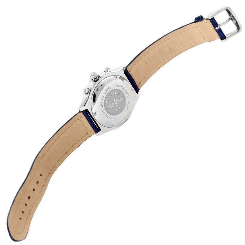 10043 Breitling Chronomat Blackbird Blue Dial Mens Watch A13340 SwissWatchExpo