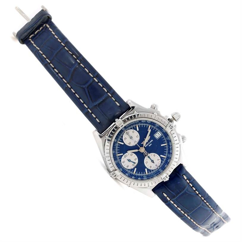 Breitling Chronomat Blackbird Blue Dial Mens Watch A13340 SwissWatchExpo