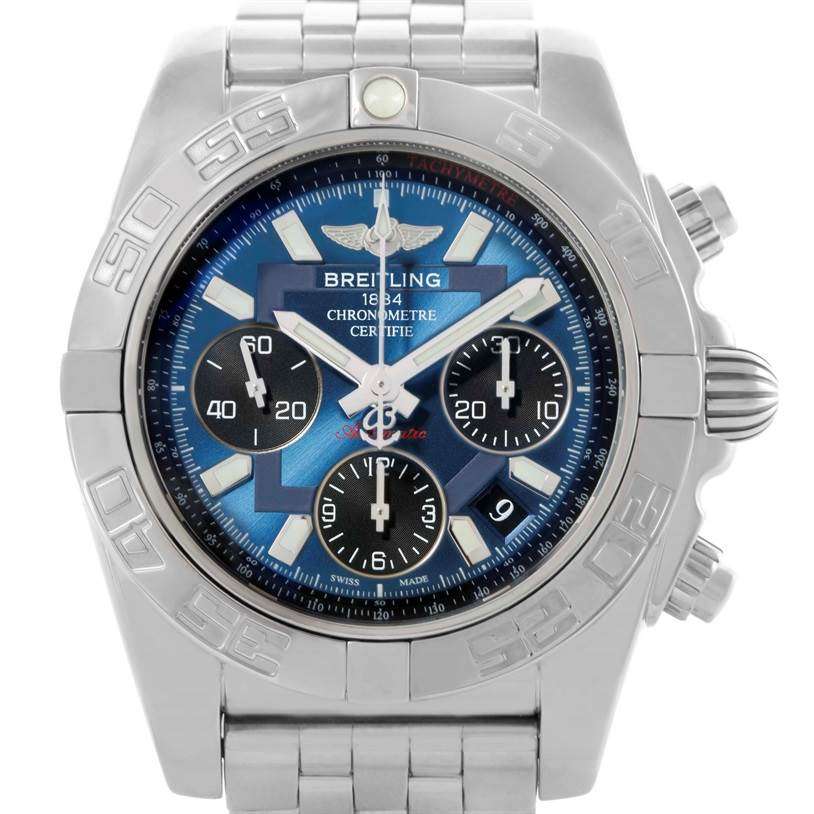 10373 Breitling Chronomat 41 Blue Dial Stainless Steel Mens Watch AB0410 SwissWatchExpo