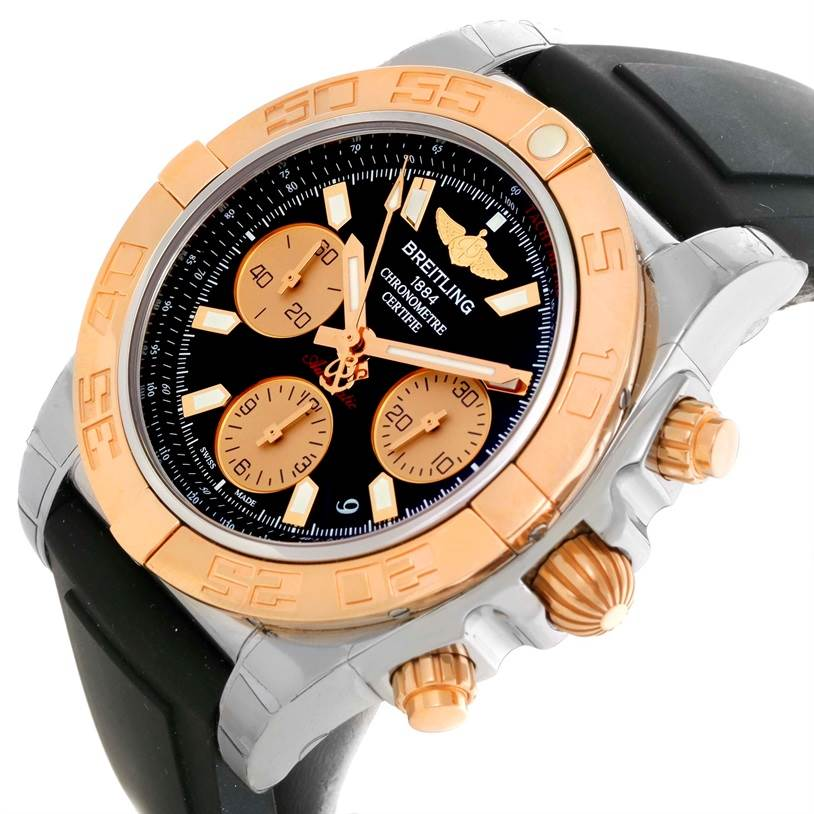 Breitling Chronomat 41 Chrono Steel Rose Gold Watch CB014012 Unworn SwissWatchExpo