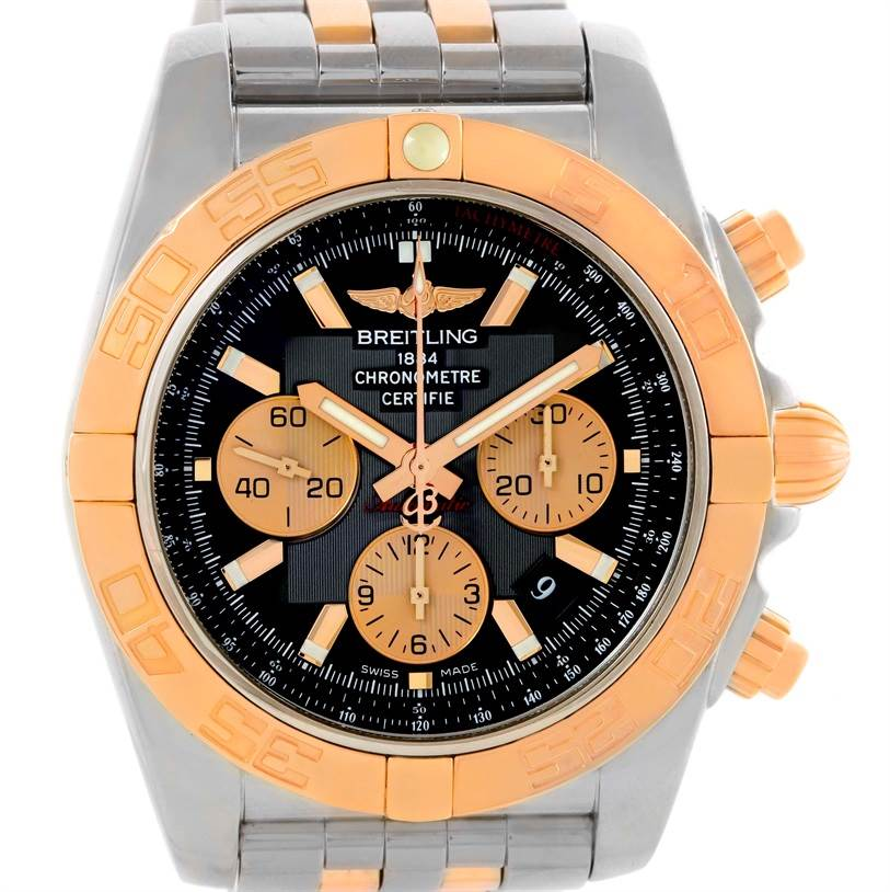 10549 Breitling Chronomat Evolution Steel Rose Gold Black Dial Watch CB0110 SwissWatchExpo