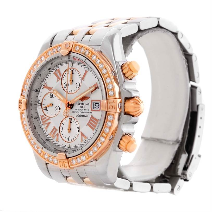 10603 Breitling Chronomat Evolution Steel Rose Gold Diamond Watch C13356 SwissWatchExpo