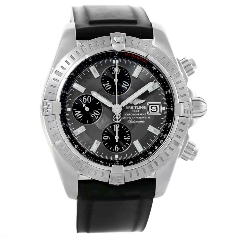 10856 Breitling Chronomat Evolution Steel Black Dial Mens Watch A13356 SwissWatchExpo