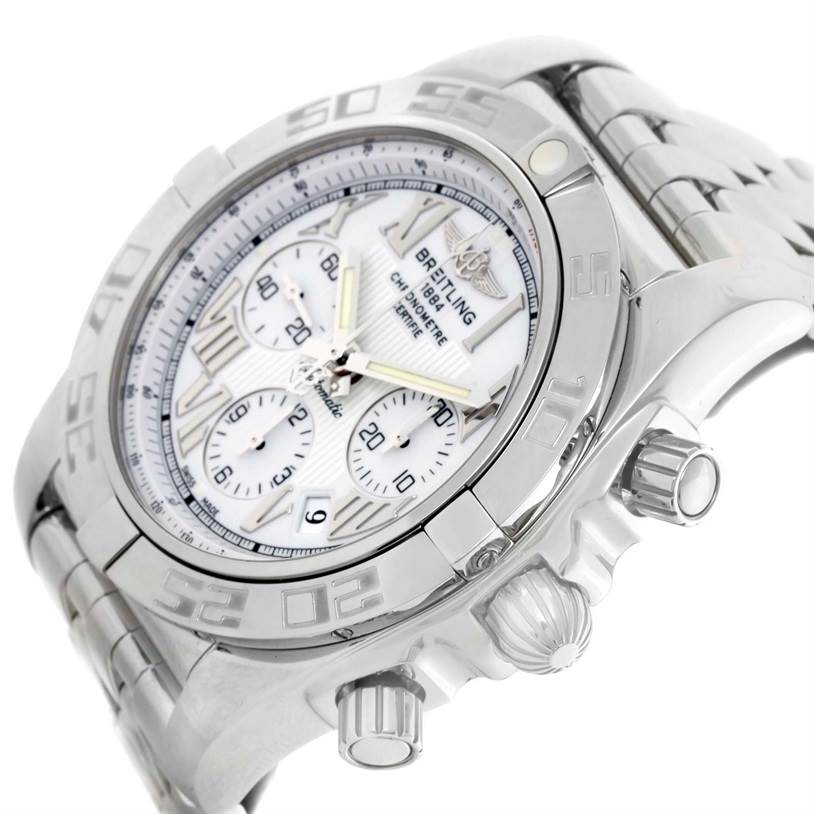 11143 Breitling Chronomat 01 White Dial Steel Mens Watch AB0110 Unworn SwissWatchExpo