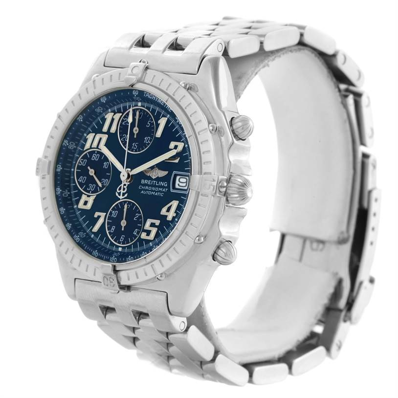 11662 Breitling Chronomat Blackbird Blue Dial Mens Watch A13350 SwissWatchExpo