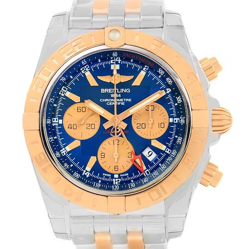 Photo of Breitling Chronomat GMT Chrono Steel Rose Gold Watch CB042012
